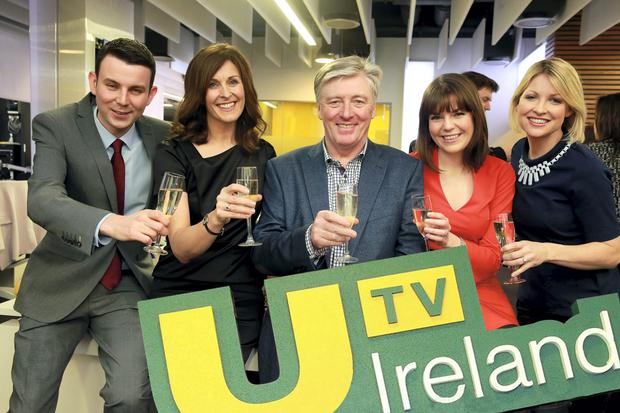 Chris Donoghue (left), Alison Comyn, Pat Kenny, Sinead O'Donnell and Claire Brock at the launch of UTV Ireland at the channel's headquarters and HD studios in Dublin's Docklands, on New Year's Day.