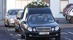 The funeral cortege in Cobh, Co Cork of Valerie Greaney, a murder-suicide victim. Her husband Michael had been suffering from mental and financial problems