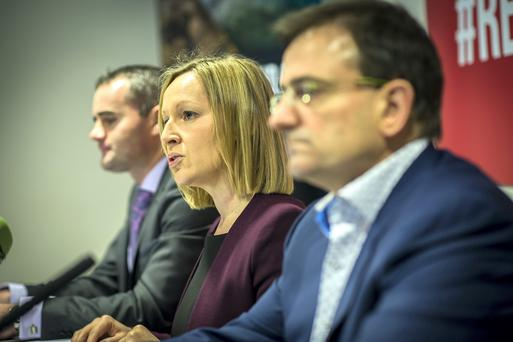 Offaly councillor John Leahy, Lucinda Creighton and Eddie Hobbs at the press conference