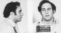Police mug shot showing the front view and profile of convicted New York City serial killer David Berkowitz, known as the 'Son of Sam'.