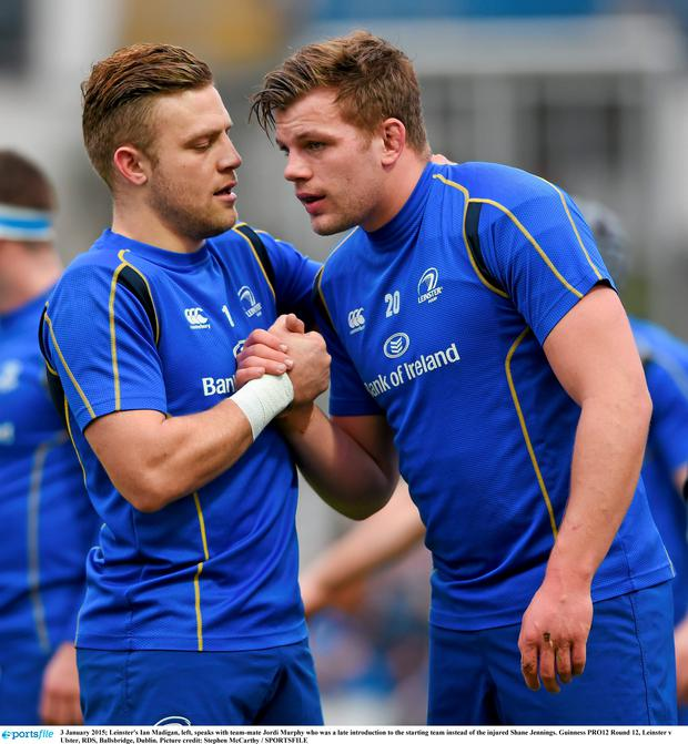 3 January 2015; Leinster's Ian Madigan, left, speaks with team-mate Jordi Murphy who was a late introduction to the starting team instead of the injured Shane Jennings. Guinness PRO12 Round 12, Leinster v Ulster, RDS, Ballsbridge, Dublin. Picture credit: Stephen McCarthy / SPORTSFILE