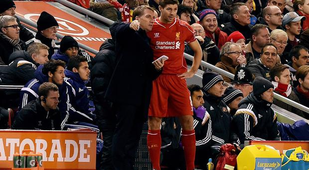 Liverpool manager Brendan Rodgers with Steven Gerrard