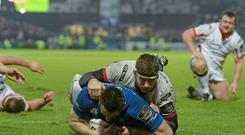 Man of the match Jack Conan caps off a fine performance with a late try despite the tackle of Ulster's Robbie Diack