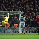Ander Herrera watches his shot sail over Yeovil's goal keeper Jed Steer to score his team's first goal during their FA Cup third round soccer match at Huish Park