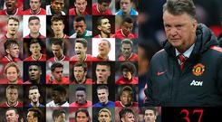 The troops: Louis van Gaal has made use of 37 players this season
