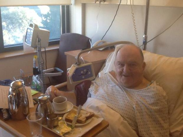 George Hook following his knee operation