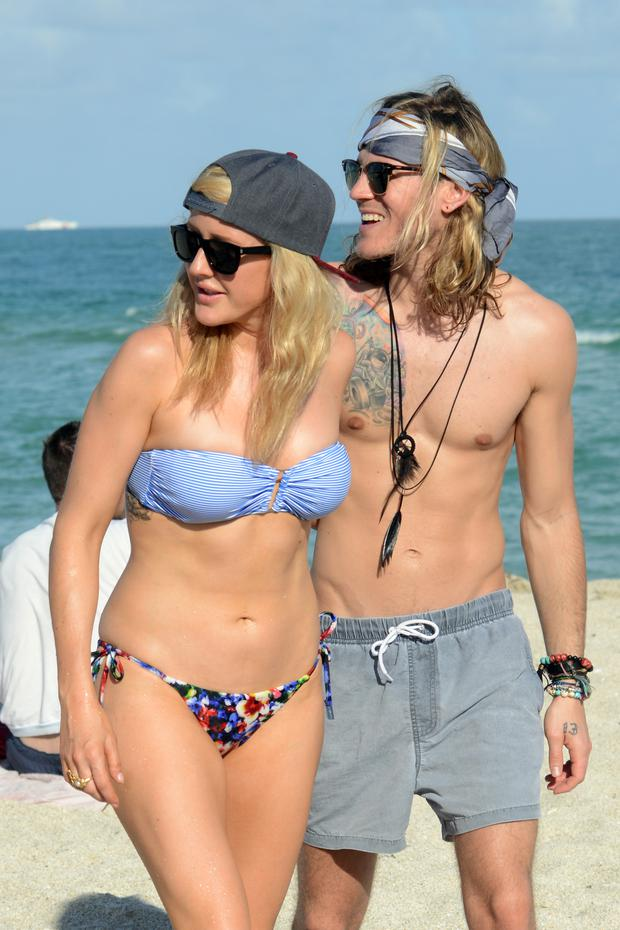 Ellie Goulding and Dougie Poynter is sighted walking on Miami Beach