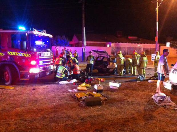 The scene of fatal crash at Karrinyup last night. Picture: Grant Wynne/Seven News/Twitter