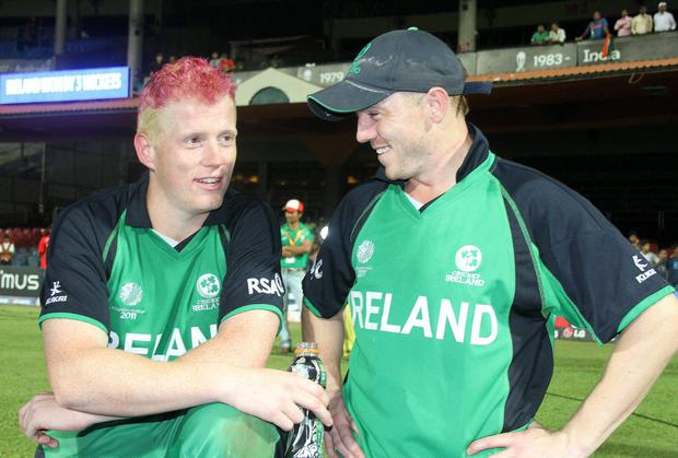 Kevin and Niall O'Brien celebrate Ireland's memorable World Cup victory over England in 2011