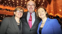 Phil Hogan,the EU Commissioner for Agriculture & Rural Development pictured with Fine Gael MEPs Mairead McGuinness (left) and Deirdre Clune at the NFA-IFA 60th.Anniversary Commemoration held at the Convention Centre, Dublin yesterday. Picture: Tom Burke