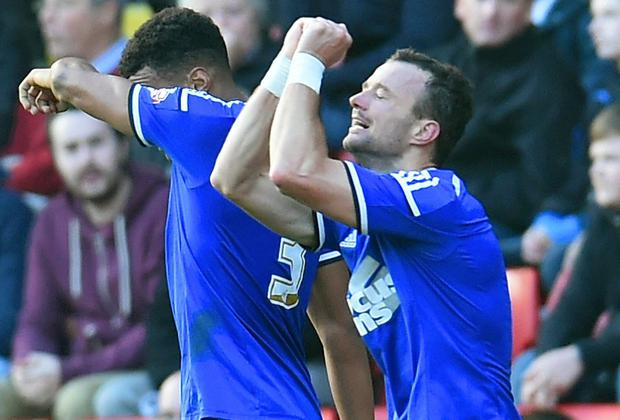 Noel Hunt (R) celebrates scoring for Ipswich Town at Charlton Athletic. The Waterford man will sign for Ipswich on a permanent basis after severing his ties with Leeds United yesterday.