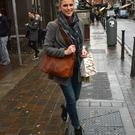 New Mum Amy Huberman seen getting her New Year off to a healthy start carrying her snack from Blazing Salads, South William Street