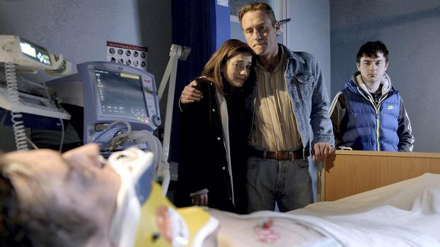 Red Rock on TV3 episode 1 The Kiely family at the hospital as Darren lies unconscious