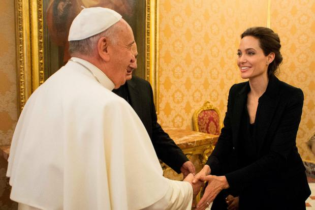 Pope Francis meets with actress Angelina Jolie at the Vatican yesterday.