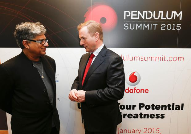 Inspirational Pendulum Summit .The hugely successful Pendulum Summit to The Convention Centre today 1800 of Ireland's most motivated business influencers and visionaries gathered for the best line up of speakers for a one day event in Ireland. Pictured was keynote speaker Deepak Chopra and An Taoiseach Enda Kenny, TD. Picture Conor McCabe Photography.