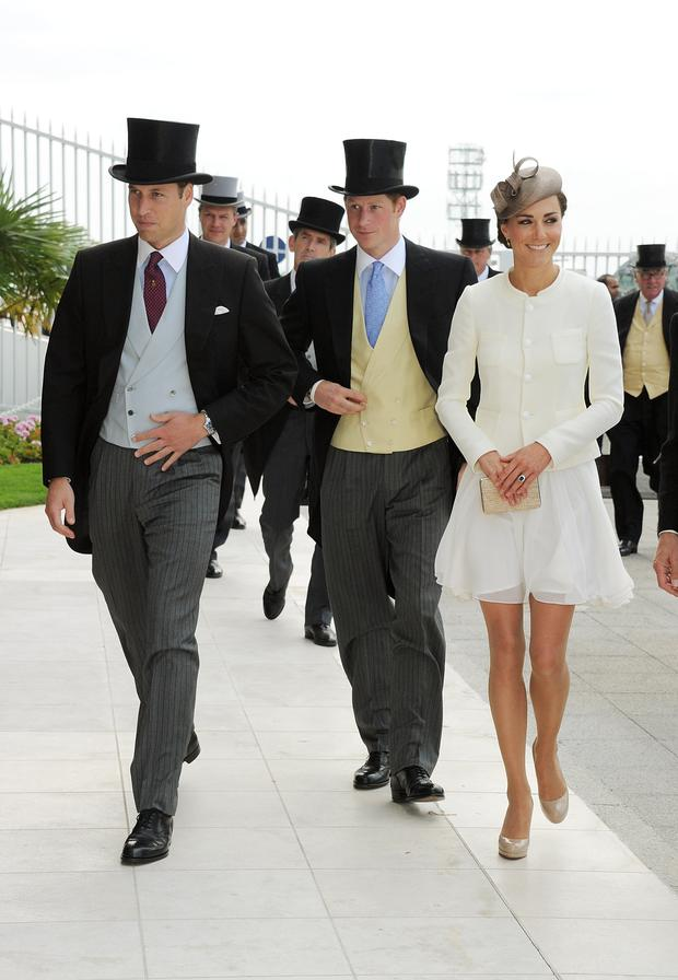 (L to R) Prince William, Prince Harry and Kate Middleton