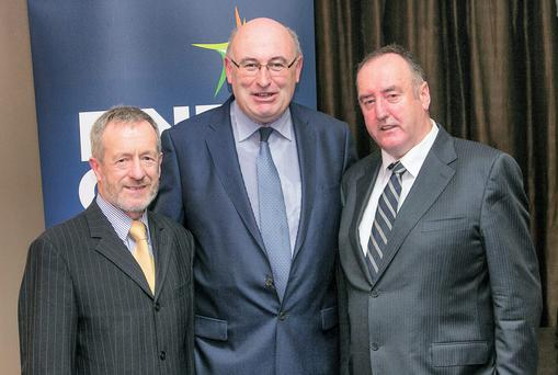 Former IFA President John Bryan (far right) withEurope's Commissioner for Agriculture and Rural Affairs. Phil Hogan and Sean Kelly MEP. Photo: Pat Moore.