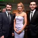 Republic of Ireland assistant manager Roy Keane with, FIFA Pusk's Award nominee, Republic of Ireland International Stephanie Roche and Cork City goalkeeper Mark McNulty at the SSE Airtricity SWAI Personality of the Year Awards 2014. Photo: Sportsfile.