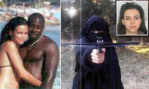 Hayat Boumeddiene and Amedy Coulibaly (left) and Hayat with crossbow, and in the shot circulated by police