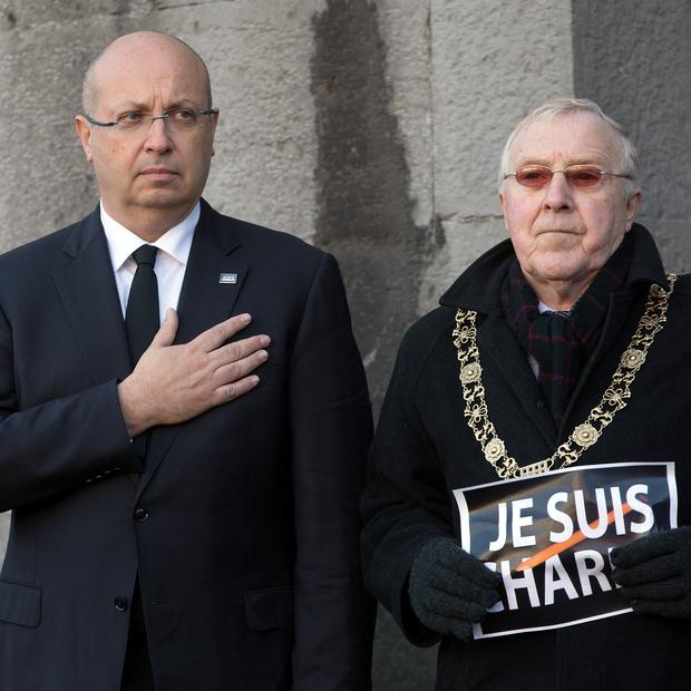 French Ambassador His Excellency Jean-Pierre Thebault and Lord Mayor of  Dublin Christy Burke at