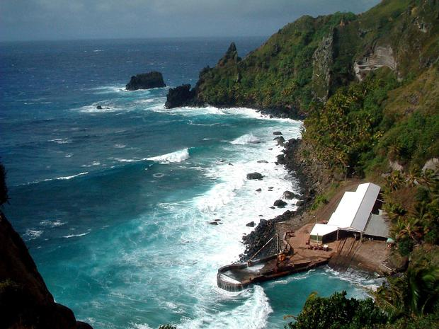 Bounty Bay, on Pitcairn Island in the South Pacific.