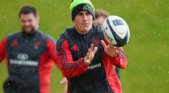 10 December 2014; Munster's Ian Keatley in action during squad training ahead of their European Rugby Champions Cup 2014/15, Pool 1, Round 4, match against ASM Clermont Auvergne on Sunday. Munster Rugby Squad Training, University of Limerick, Limerick. Picture credit: Diarmuid Greene / SPORTSFILE