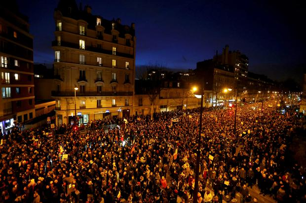 A general view shows hundreds of thousands of French citizens taking part in a solidarity march (Marche Republicaine) in the streets of Paris REUTERS/Yves Herman