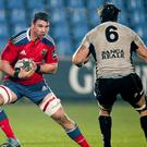 Paddy Butler, Munster, in action against Filippo Cristiano, Zebre