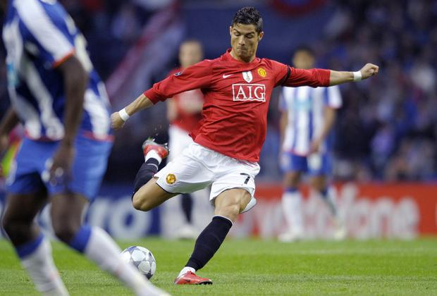 Ronaldo won the Puskas Award in 2009 while playing for Manchester United for his goal against Porto in their Champions League quarter final second leg match at the Dragao Stadium. AFP/Getty Images