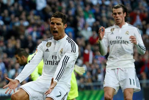 Cristiano Ronaldo reacts after Gareth Bale opts to shoot instead of passing to the Portuguese superstar in Real Madrid's 3-0 victory over Espanyol in January
