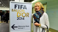 Stephanie Roche arrives in Zurich last night.Photo: David Maher / SPORTSFILE