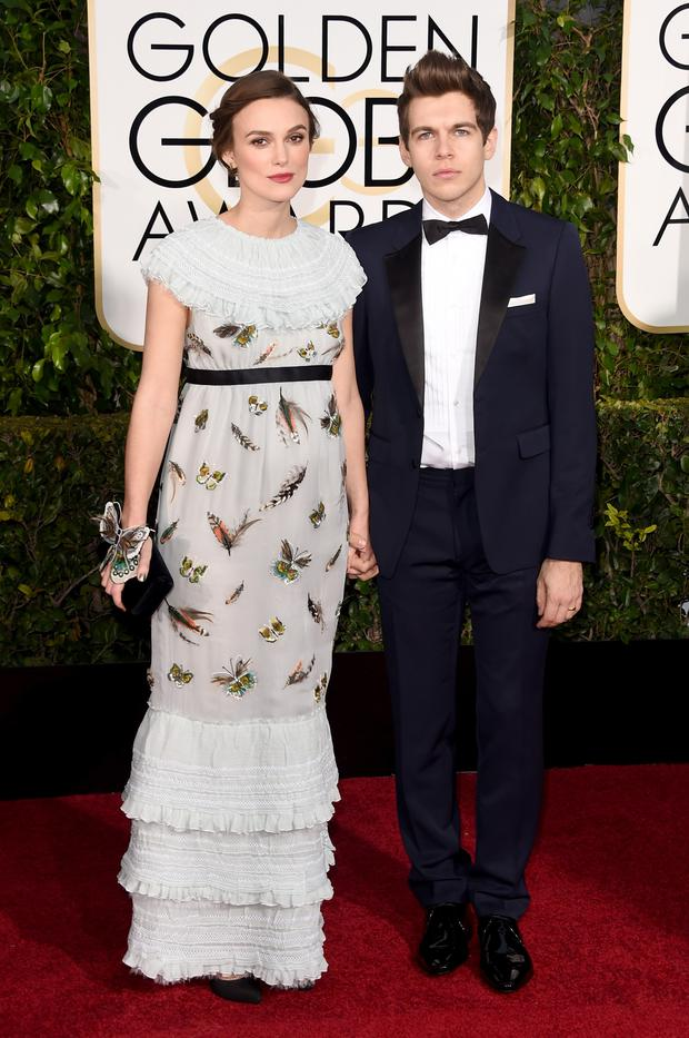 Actress Keira Knightley and musician James Righton attend the 72nd Annual Golden Globe Awards at The Beverly Hilton Hotel on January 11, 2015 in Beverly Hills, California. (Photo by Jason Merritt/Getty Images)