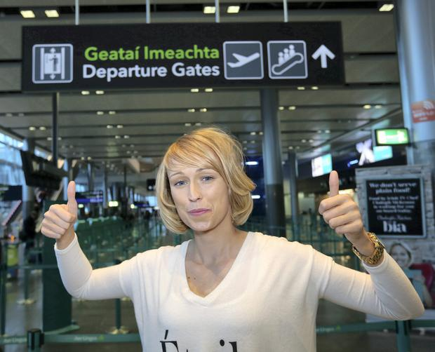 Republic of Ireland Ladies Soccer Star, Stephanie Roche pictured at Dublin Airport as she left for Fifa's Puskas Award in Zurich.