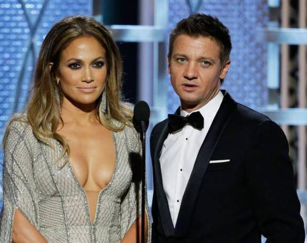 The star of The Hurt Locker and The Bourne Legacy presented the award for Best Actor in a mini-series or TV movie alongside the actress and singer