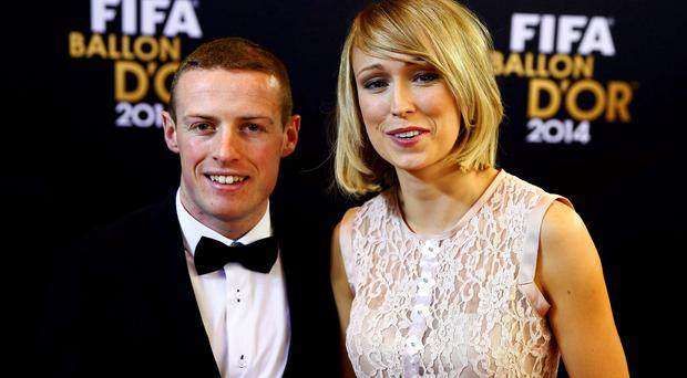 Stephanie Roche of Ireland and her partner Dean Zambra arrive for the FIFA Ballon d'Or 2014 soccer awards ceremony