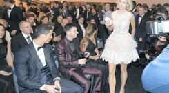 FIFA Goal of the Year award runner-up Stephanie Roche with Ballon d'Or winner Cristiano Ronaldo and runner-up Lionel Messi. Photo: INPHO
