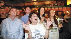 Stephanie Roche's mum Anne with son Paul, Peter Vaughan, daughter Sinead and friend Amy Patton at Brady's pub in Shankhill to support Stephanie who was up for the Puskas Award for best goal of 2014 in Geneva. Photo: Arthur Carron