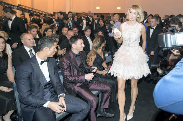 Republic of Ireland International Stephanie Roche with Cristiano Ronaldo and Lionel Messi