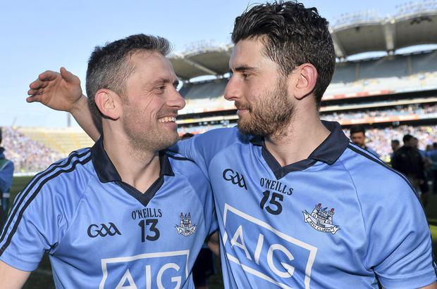 27 April 2014; Alan Brogan, left, Dublin, celebrate's with his brother Bernard at the end of the game. Allianz Football League Division 1 Final, Dublin v Derry, Croke Park, Dublin. Picture credit: David Maher / SPORTSFILE
