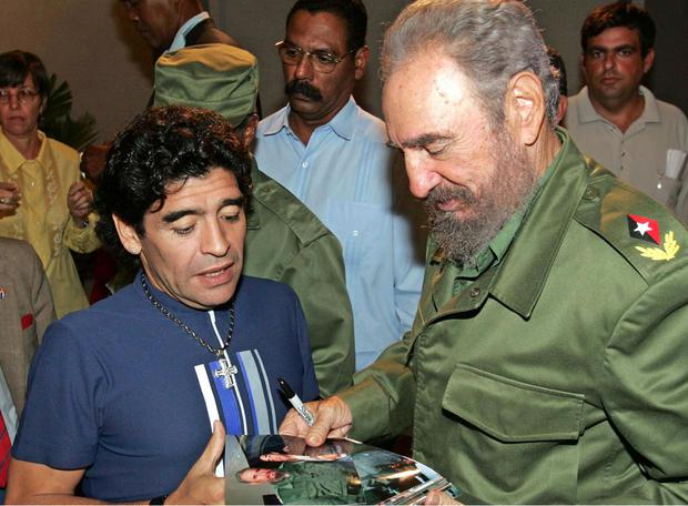 Diego Maradona and ex-Cuban President Fidel Castro in 2005.