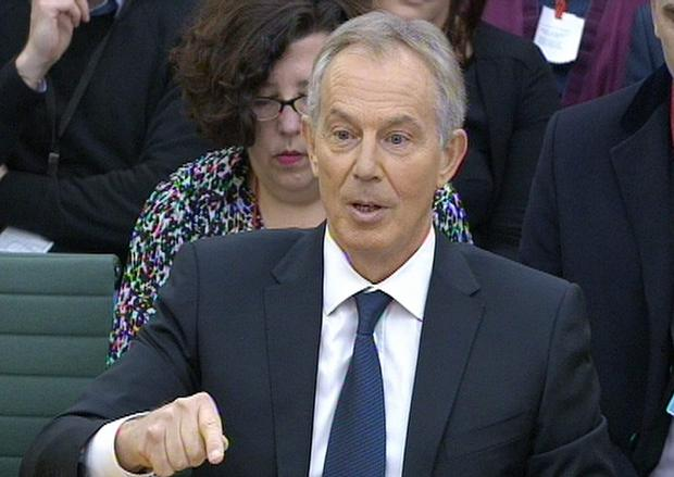 Former Prime Minister Tony Blair answers questions at the parliamentary inquiry at the House of Commons in London, into the 'on the runs' (OTRs) letters and the deal he did with Sinn Fein to secure peace in Northern Ireland. Photo: PA Wire