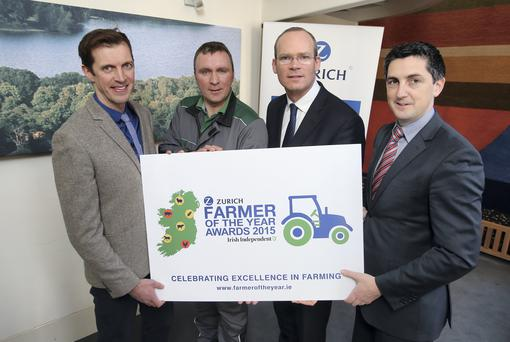 Pictured at the Launch of the Farming Independent and Zurich Insurance Farmer of the Year Awards 2015 at the Department of Agriculture in Kildare Street were Darragh McCullough from the Farming Independent with Irish Independent/ Zurich Farmer of the Year 2014, Kevin Nolan from Grangeford Co Carlow, Simon Coveney ,Minister for Agriculture and Michael Doyle, Head of Agri at Zurich Insurance. Pic Frank Mc Grath
