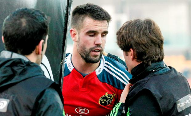 The Ireland scrum-half is awaiting the results of scans on the neck injury he suffered when scoring a try against Zebre last Saturday before a decision is made on his fitness.