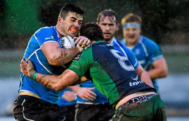 Jordan Coghlan, Leinster A, is tackled by Danny Qualter, Connacht Eagles during the Interprovincial Friendly at the Sportsground this week (Matt Browne / SPORTSFILE)