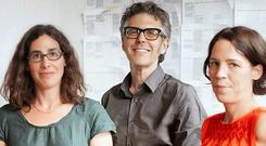 Sarah Koenig (left), 'Serial' producer with crew members.