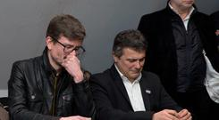 Satirical French magazine Charlie Hebdo columnist Patrick Pelloux (C), cartoonist Luz (L) and Liberation editor in chief Laurent Joffrin (R). Reuters