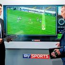 Sky Sports presenter Brian Carney with hurling analyst James O'Connor in their studio before the Kilkenny v Offaly game last summer