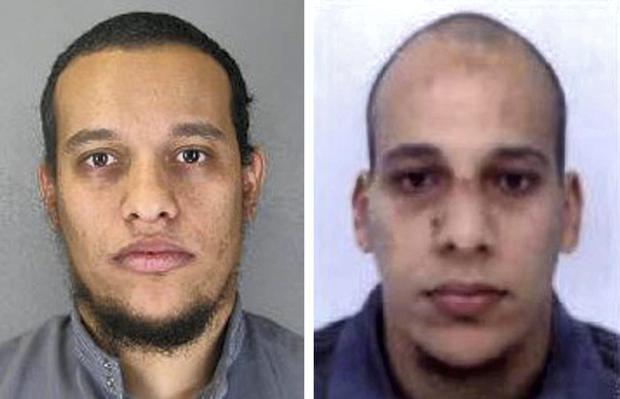 Pictured in this composite of handout photos provided by the Direction centrale de la Police judiciaire are suspect Said Kouachi, aged 34, (L) and suspect Cherif Kouachi, aged 32, who are both wanted in connection with an attack at the satirical weekly Charlie Hebdo.