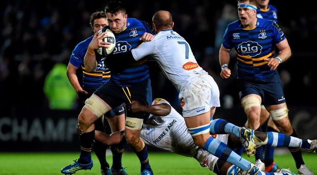 Jack Conan, Leinster, is tackled by Jannie Bornman, Castres