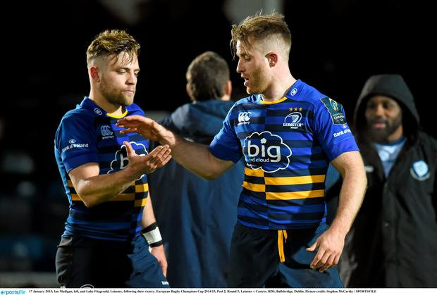 Ian Madigan, left, and Luke Fitzgerald, Leinster, following their victory
